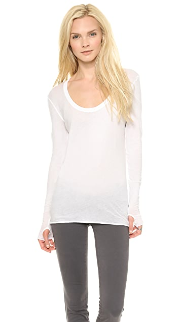 Enza Costa Long Dleeve Scoop Tee