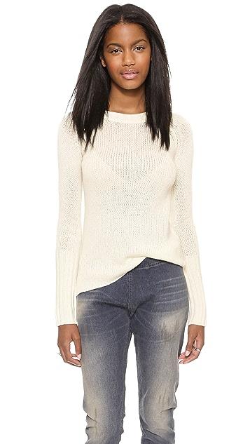 Enza Costa Marled Cuffed Crew Sweater