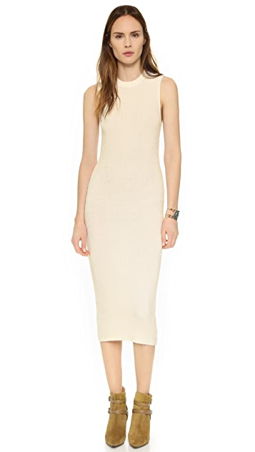 Enza Costa Ribbed Knit Midi Dress