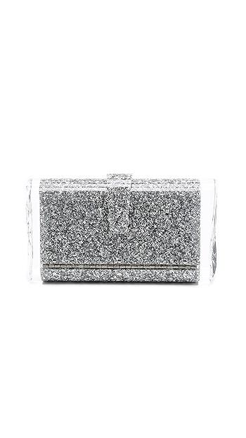 Edie Parker Lara Solid Clutch - Silver Confetti