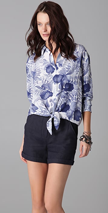 Equipment Daddy Tie Front Tropical Orchid Blouse