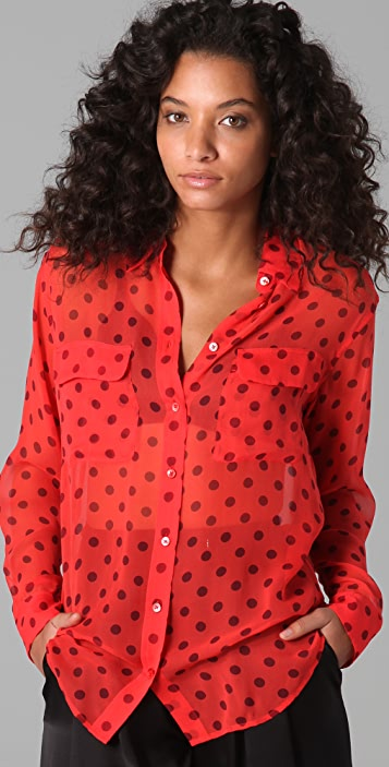 Equipment Retro Dot Signature Blouse