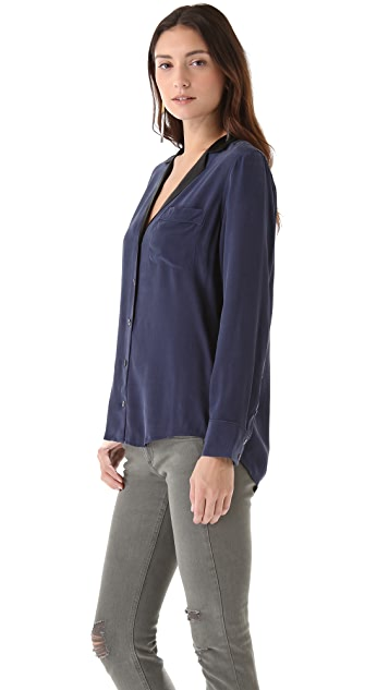 Equipment Keira Blouse with Contrast Lapels
