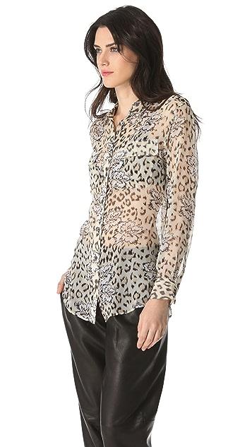 Equipment Signature Leopard Floral Button Down