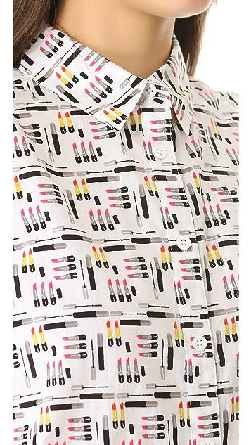 Equipment Mina Makeup Print Button Down