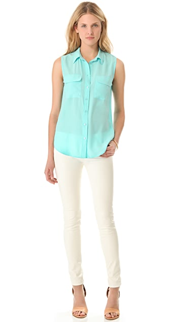 Equipment Sleeveless Slim Signature Button Down Top