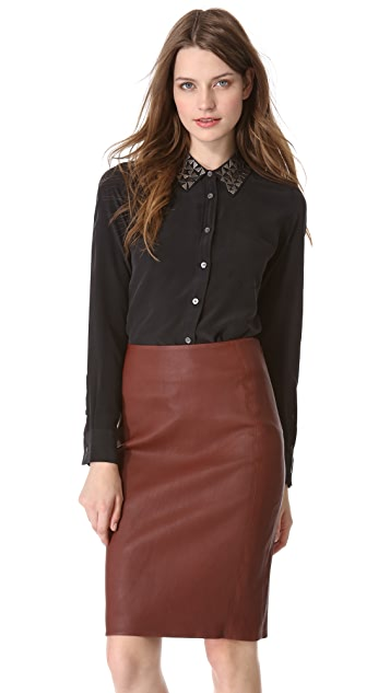 Equipment Brett Blouse with Metal Collar