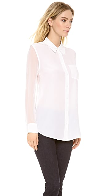 Equipment Reese Blouse with Contrast Sleeves