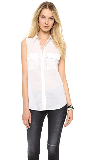 Equipment Sleeveless Slim Signature Cotton Blouse