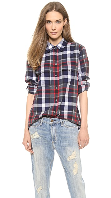 Equipment Signature Button Down Flannel Blouse