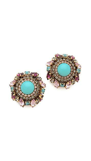 Erickson Beamon Girls on Film Button Earrings