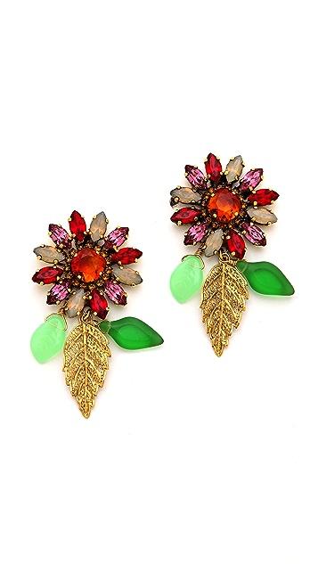 Erickson Beamon Garden Party Crystal Flower Earrings