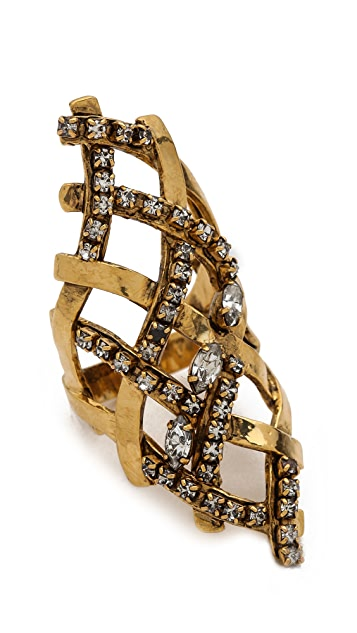 Erickson Beamon Heart of Gold Cross Ring
