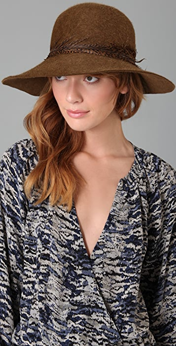 Eugenia Kim Carly Floppy Hat with Tiger Striped Feather
