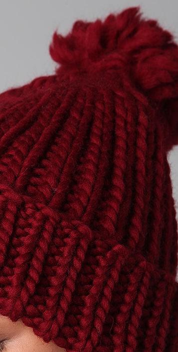 Eugenia Kim Rain Chunky Cuffed Pom Hat