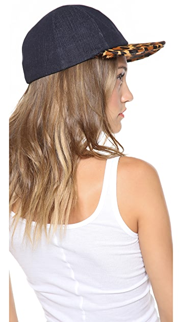 Eugenia Kim Darien Denim & Haircalf Baseball Cap