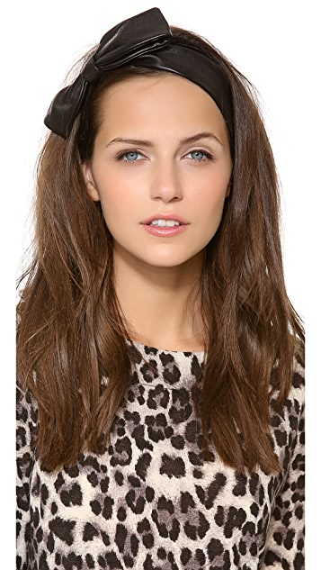 Eugenia Kim Miki Black Leather Bow Headband