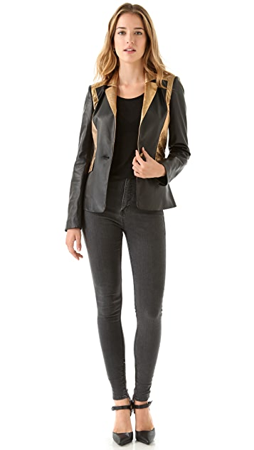 Faith Connexion Crackle Leather Blazer