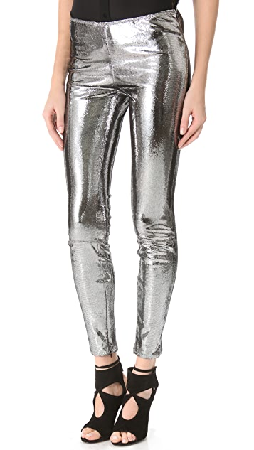 Faith Connexion Metallic Reptile Leather Pants