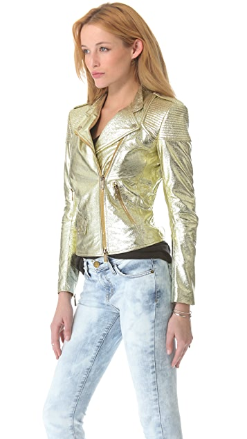 Faith Connexion Metallic Leather Jacket