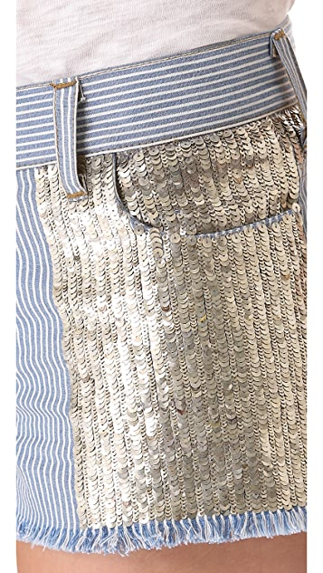 Faith Connexion Embellished Stripe Cutoff Shorts