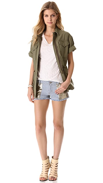 Faith Connexion Embellished Stripe Cutoff Shorts