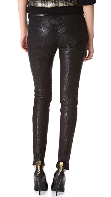 Faith Connexion Python Print Leather Pants
