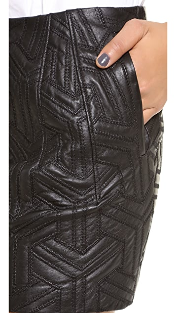 Faith Connexion Embossed Leather Miniskirt