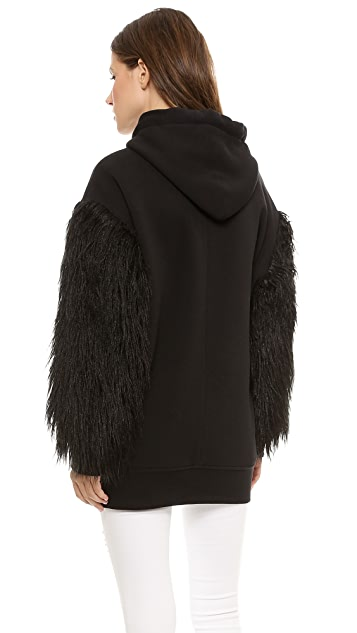 Faith Connexion Mixed Fur Fleece Sweatshirt