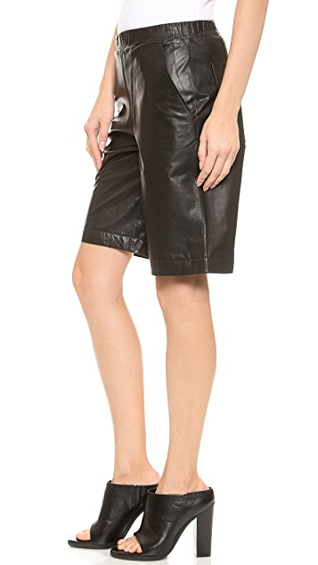 Faith Connexion Washed Leather Shorts