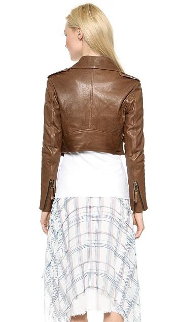Faith Connexion Shrunken Bubble Leather Jacket