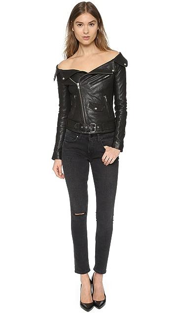 Faith Connexion Leather Off Shoulder Jacket