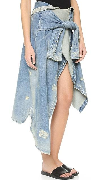 Faith Connexion Long Denim Shirt Skirt