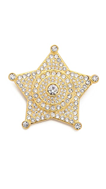 Fallon Jewelry Swarovski Pave Badge Pin