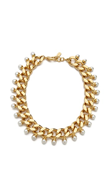 Fallon Jewelry Swarovski Imitation Pearl Biker Choker Necklace
