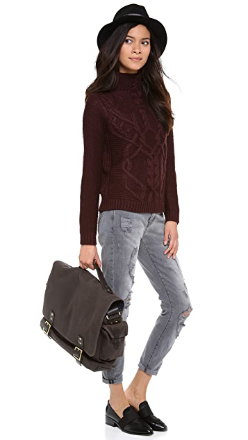 525 America Traveling Cable Cropped Sweater