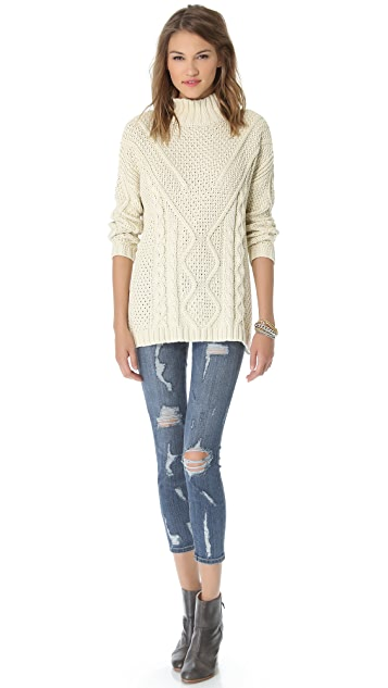 525 America Cotton Cable Mock Sweater