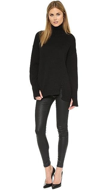 525 Asymmetrical Turtleneck Sweater