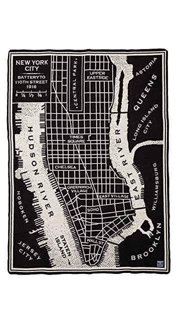 Faribault Woolen Mills New York City Map Throw