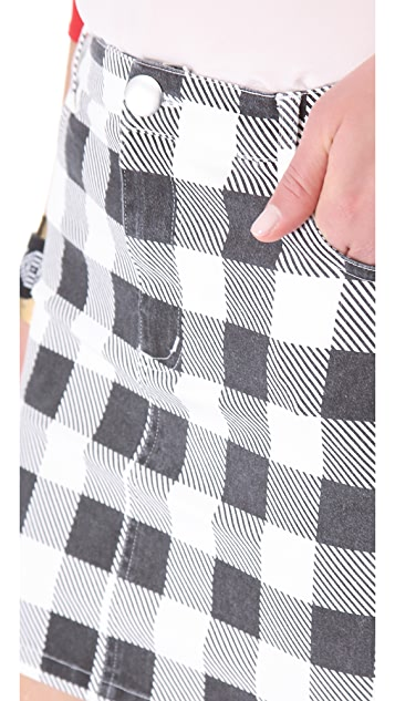 Friends & Associates Gingham Denim Skirt