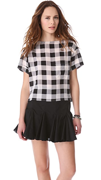 Friends & Associates Gingham Silk T-Shirt