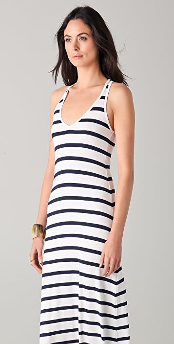 Feel The Piece Striped V Neck Maxi Dress