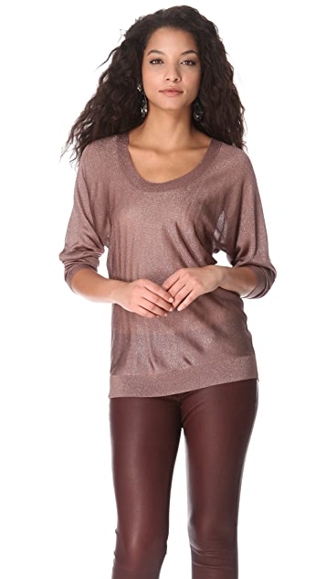 Feel The Piece Metallic Boat Neck Sweater