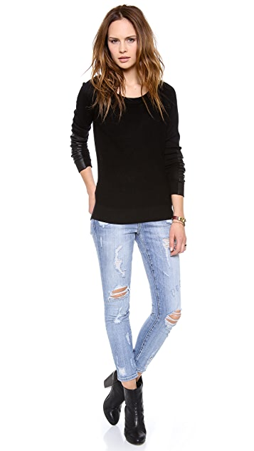 Feel The Piece Sweater with Leather Detail
