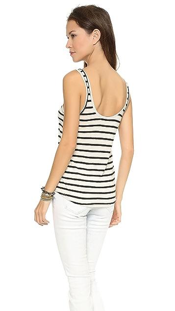 Feel The Piece Cropped Linen Stripe Sloan Tank