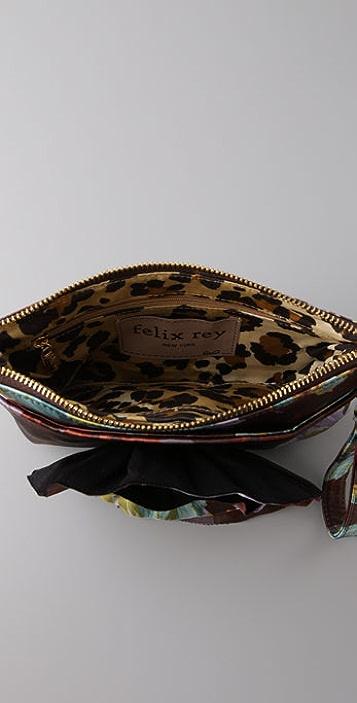 Felix Rey Zip Top Flower Clutch