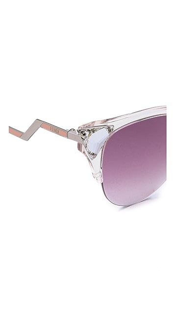 Fendi Iridia Crystal Corner Sunglasses