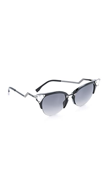 Fendi Iridia Crystal Corner Sunglasses