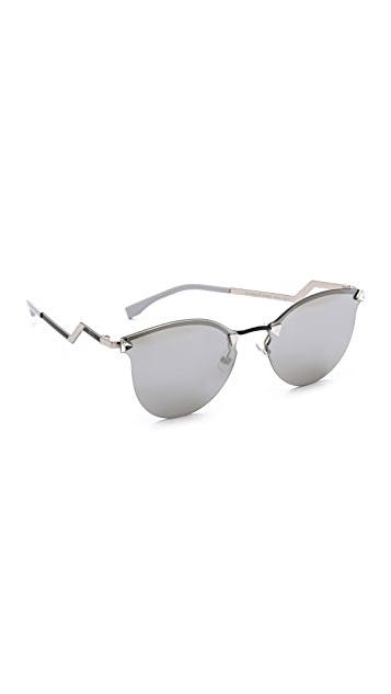 Fendi Iridia Rimless Bottom Sunglasses