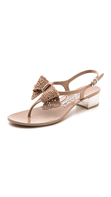 Salvatore Ferragamo Perala Low Heel Jelly Sandals